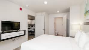1 bedroom, premium bedding, blackout drapes, iron/ironing board