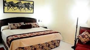Minibar, desk, bed sheets