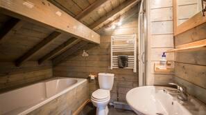Baignoire et douche séparées, articles de toilette gratuits