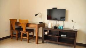 Desk, blackout drapes, free WiFi