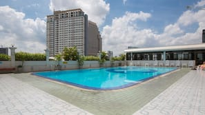 Outdoor pool, open 10 AM to 10 PM, free pool cabanas