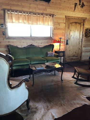 Living Room, Rare Find AT Palo Duro Canyon! Large,, Rustic, Secluded Cabin Sleeps 2, 5 or 9