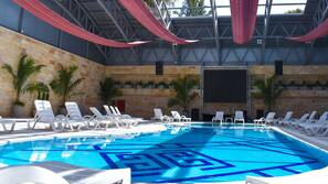 Indoor pool, outdoor pool, open 10:00 AM to 6:00 PM, sun loungers