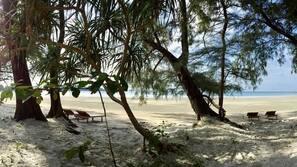 On the beach, free beach cabanas, beach umbrellas, scuba diving