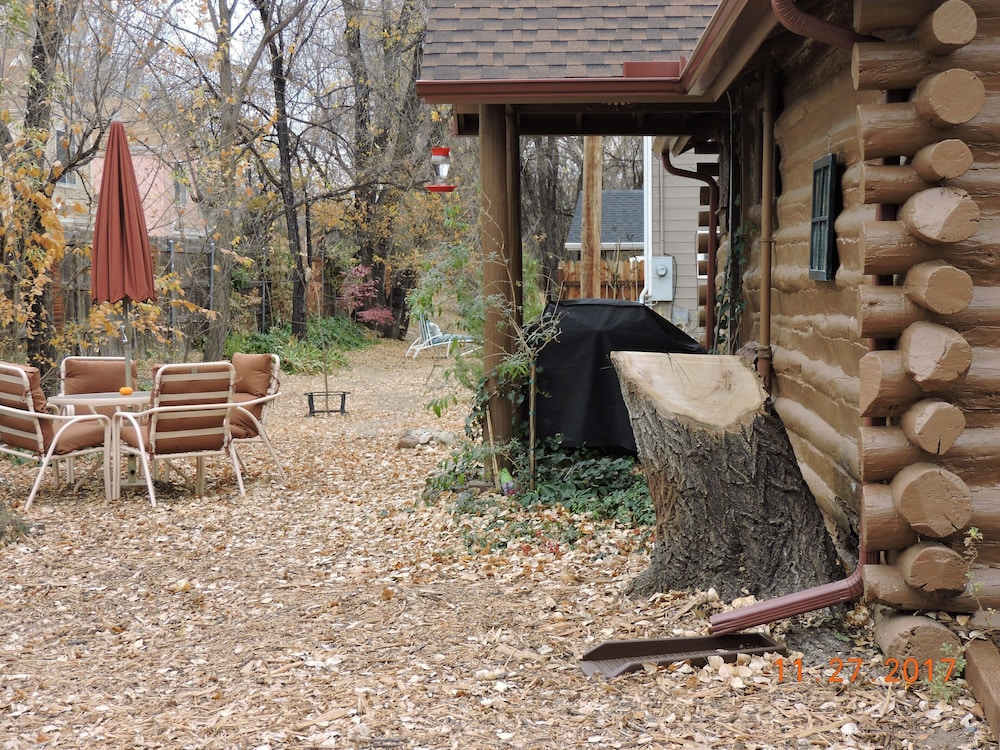 Property Grounds, Authentic Log Cabin, 1.25 Acres, Seasonal Creek, Fireplace! 1.6 Miles to Square