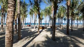 Private beach, beach umbrellas, beach towels, beach yoga