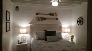 2 bedrooms, iron/ironing board, linens