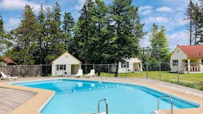 Seasonal outdoor pool, open 11:00 AM to 9 PM, sun loungers