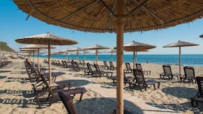 Private beach, sun-loungers, beach umbrellas