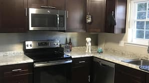 Microwave, dishwasher, coffee/tea maker, cookware/dishes/utensils