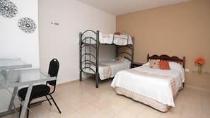 1 bedroom, desk, laptop workspace, rollaway beds