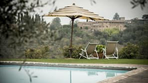 Outdoor pool, open 8 AM to 8:30 PM, pool umbrellas, pool loungers