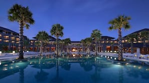 Outdoor pool, open 8:00 AM to 8:00 PM, free cabanas, pool umbrellas