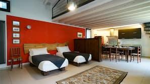 Premium bedding, down duvets, Select Comfort beds, laptop workspace