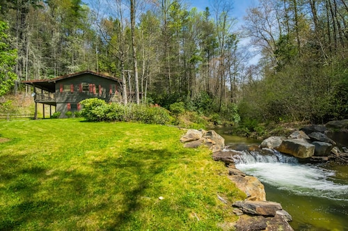 Cabin on Trout River, 9 Acres Surrounded by US Forest, Waterfalls, 100% Secluded