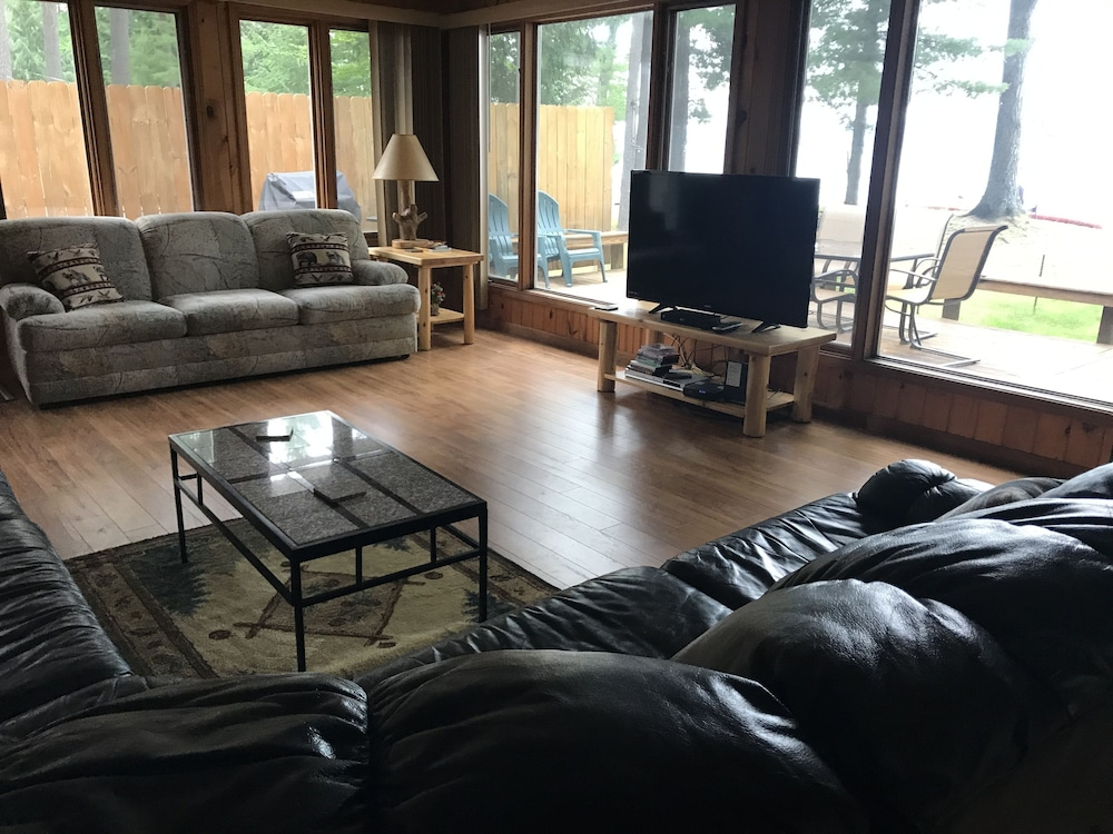 Living Room, Serenity Beach Haus w/outdoor hot tub on Otsego Lake & Sandy Beach, A/C, Wi-fi!
