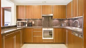 Fridge, microwave, dishwasher, electric kettle