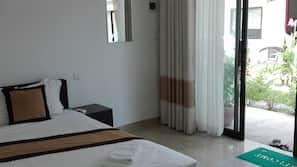 Select Comfort beds, blackout curtains, rollaway beds, free WiFi
