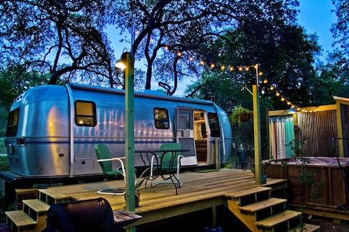 Super Cute Retro Airstream Hot Tub and Outdoor Shower
