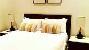 2 bedrooms, premium bedding, free WiFi, linens