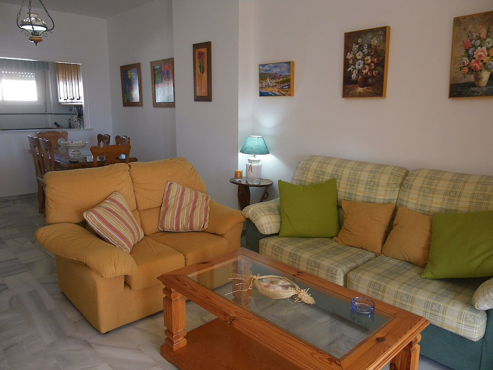 Living Room, Apartment- Chipiona, Garage, Pool Near THE Town Center AND Beach, Internet, Satellite TV