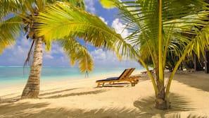 On the beach, white sand, snorkelling, kayaking
