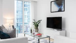 32-inch flat-screen TV with cable channels