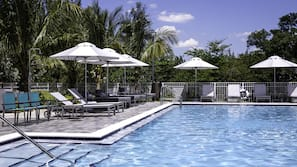Outdoor pool, open 8 AM to 8 PM, free cabanas, pool umbrellas