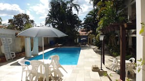 Indoor pool, open 8:00 AM to 8:00 PM, pool umbrellas, sun loungers