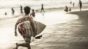 In Strandnähe, schwarzer Sandstrand, Surfen/Boogieboarden