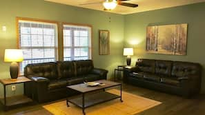 Flat-screen TV, fireplace, foosball