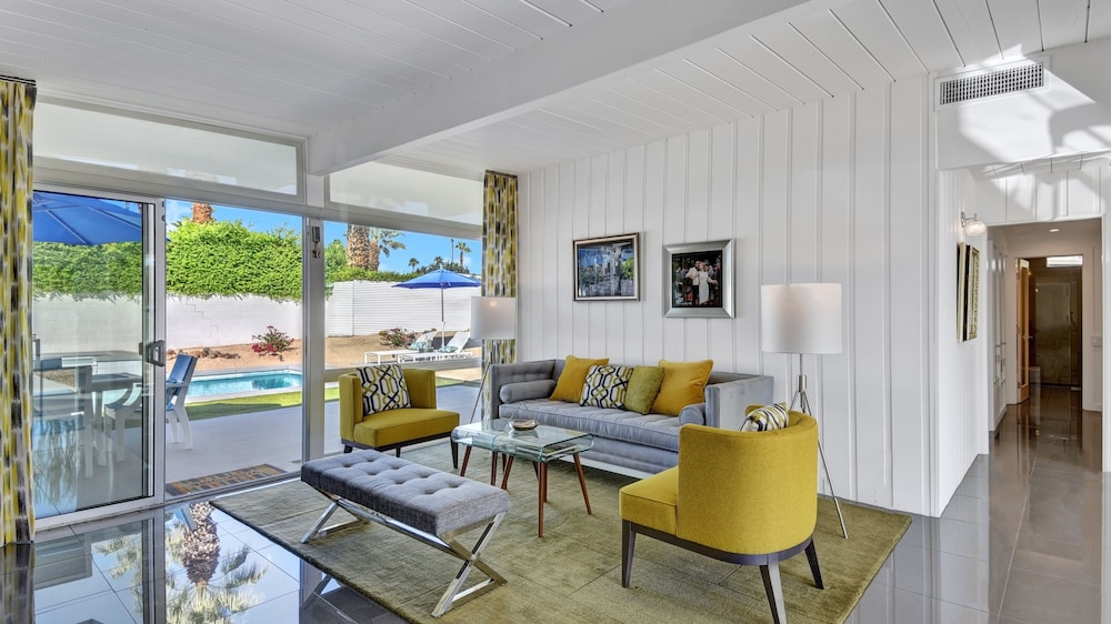 Living Room, Stunning Mid-century Pool and spa Home, Recently Remodeled and Ready for You!