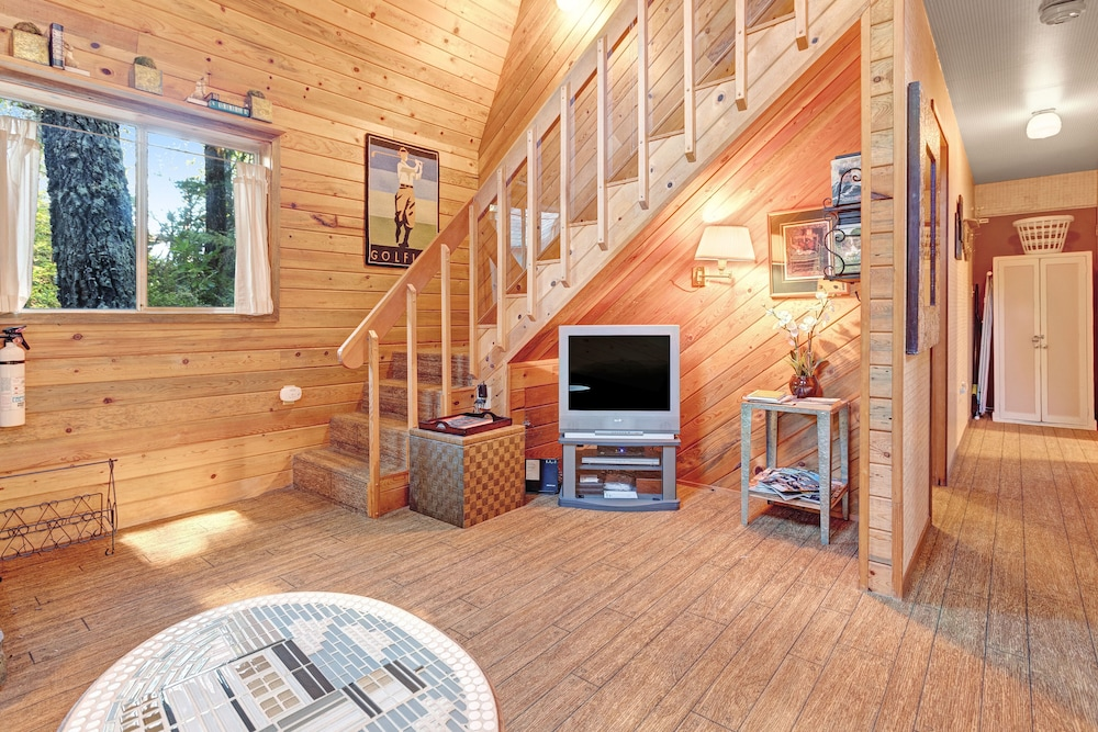 Living Room, Updated, Dog-friendly Cabin in a Secluded Area - Minutes From Beach & Town!