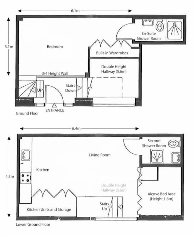 Floor plan, Luxury Modern Split Level 2BR Covent Garden Apt
