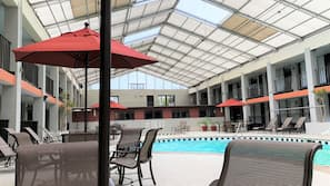 Indoor pool, seasonal outdoor pool, pool umbrellas