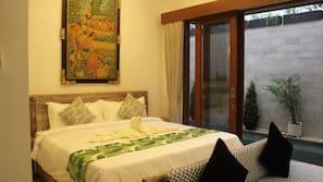 1 kamar tidur, seprai premium, brankas, dan setrika/meja setrika