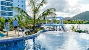 4 piscines extérieures, tentes de plage, parasols de plage