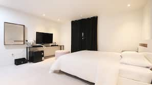 高級寢具、羽絨被、迷你吧贈品、設計每間自成一格