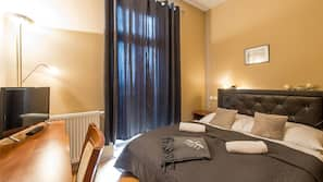 Egyptian cotton sheets, down duvets, Select Comfort beds, in-room safe