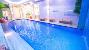 Indoor pool, open 8 AM to 8 PM, sun loungers