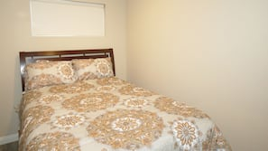 1 bedroom, laptop workspace, iron/ironing board, bed sheets