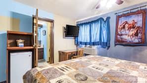 Premium bedding, desk, WiFi, linens
