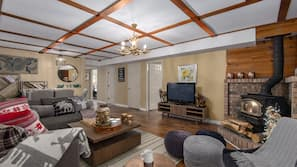 Smart TV, fireplace, books, offices