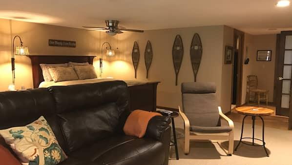 1 bedroom, desk, iron/ironing board, travel crib