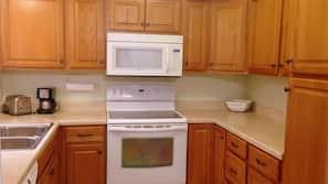 Fridge, microwave, coffee/tea maker, rice cooker