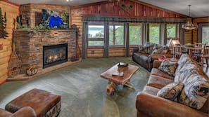 TV, fireplace, DVD player, music library