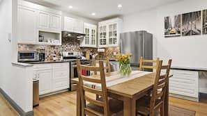 Dishwasher, coffee/tea maker, cookware/dishes/utensils