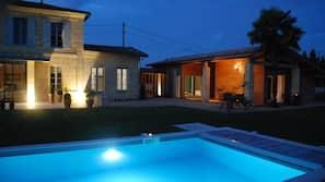 Seasonal outdoor pool, open 7 AM to 8 PM, pool umbrellas, pool loungers