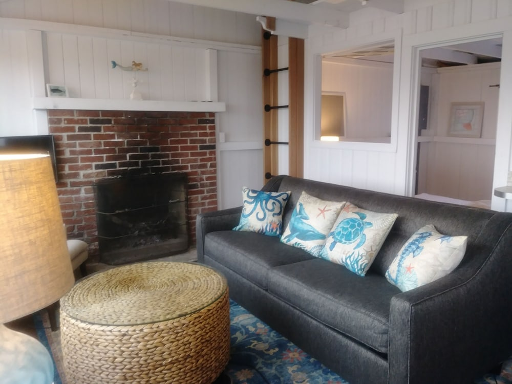 Living Room, Driftwood Oceanfront Cottage at Popham Beach Spectacular Views From Every Room