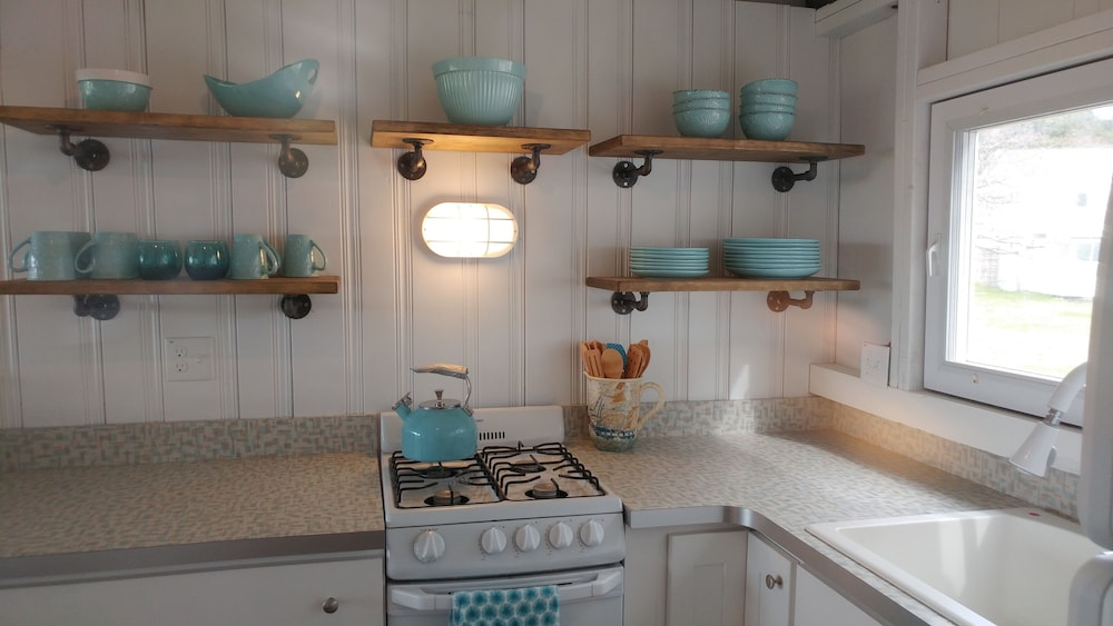 Private Kitchen, Driftwood Oceanfront Cottage at Popham Beach Spectacular Views From Every Room
